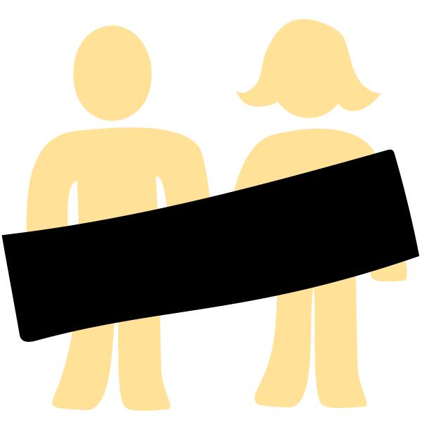 Scham: Mann und Frau mit Zensur-Balken