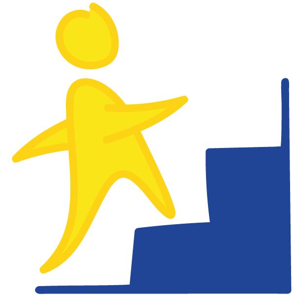 Männchen Treppe aufwärts
