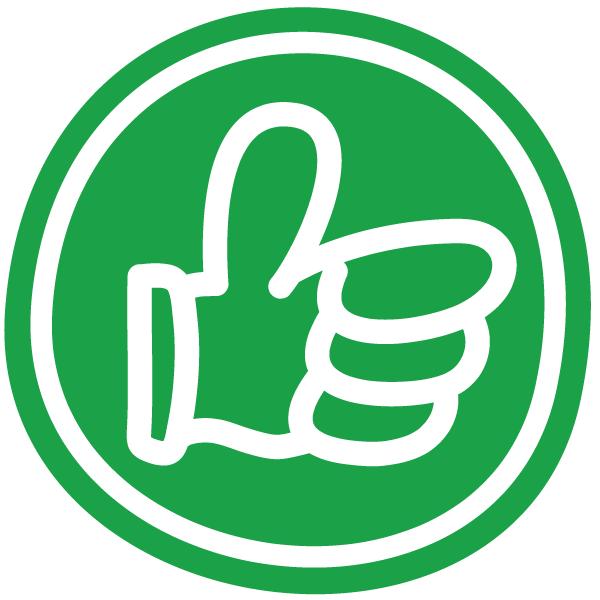 Ja sagen - Daumen hoch in grün