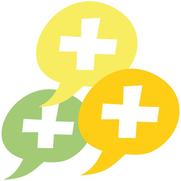 Icon: Sprechblasen mit Plus - Mehr Loben